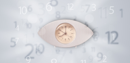 Modern clock with numbers on the side comming out photo