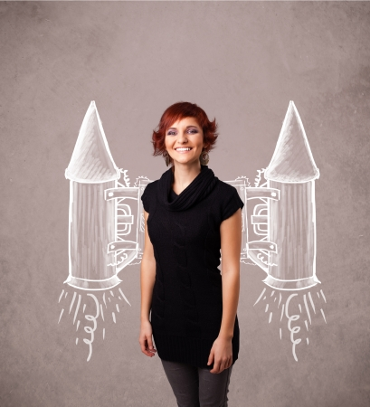 rocketship: Cute young girl with jet pack rocket drawing illustration