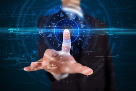 Tech guy pressing high technology control panel screen concept  photo
