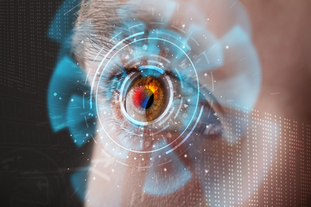 retina display: Futuristic modern cyber man with technology screen eye panel concept Stock Photo