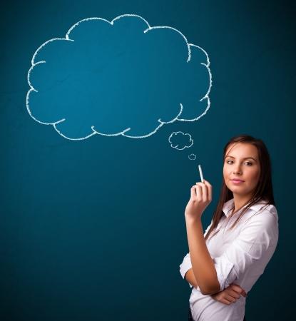 smoking woman: Beautiful young lady smoking cigarette with idea cloud