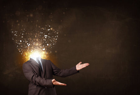 Business man with glowing exploding head concept Stock Photo - 25133867