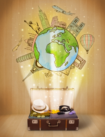 Luggage with travel around the world illustration concept on grungy background Stock Illustration - 25295657