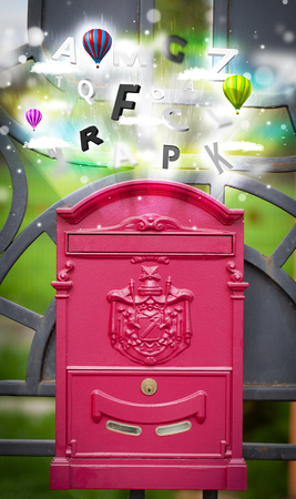 abstract letters: Post box with colorful abstract letters
