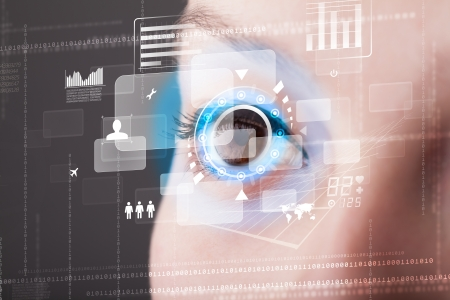 retina scan: Future woman with cyber technology eye panel concept