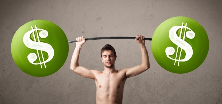 Funny skinny guy lifting green dollar sign weights photo