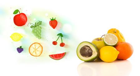 Colorful fruits with hand drawn illustrated fruits on white background photo