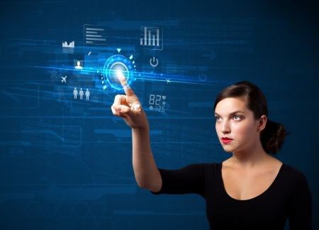 Business woman touching future web technology buttons and icons   photo
