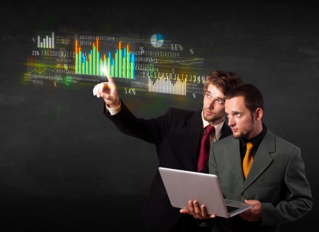 Business people touching colorful charts and diagrams  photo