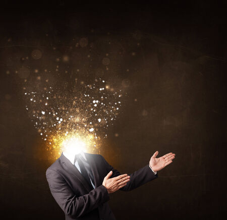 Business man with glowing exploding head concept Stock Photo - 25528117
