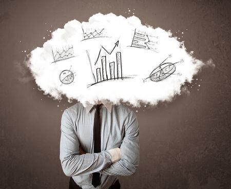 elegant business man: Uomo elegante di affari testa nube con grafici disegnati a mano concetto