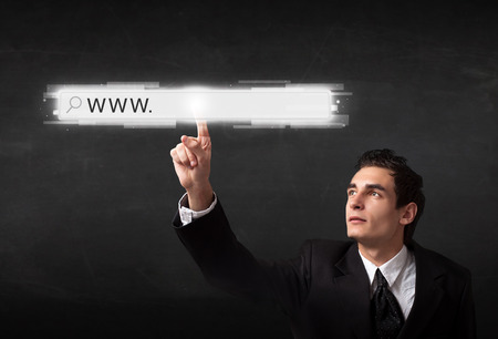 address bar: Young man touching web browser address bar with www sign
