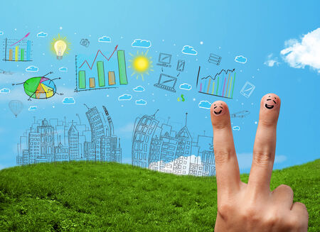 Happy cheerful smiley fingers looking at hand drawn urban city landscape photo