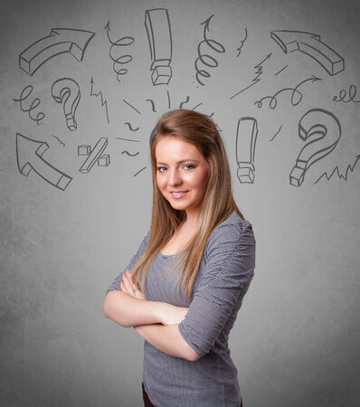 Cute young girl with question sign doodles on gradient background photo