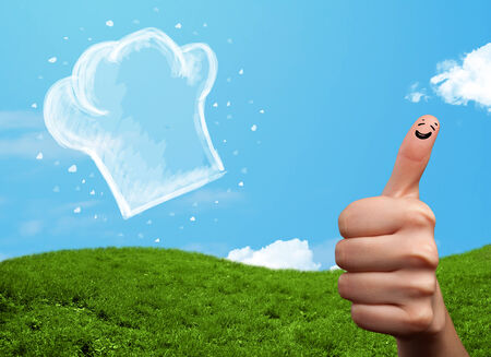 cheerfully: Happy smiley face fingers cheerfully looking at  illustration of cook hat Stock Photo