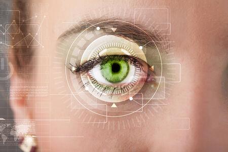 cyber girl: Modern cyber girl with technolgy eye looking