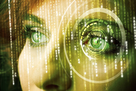 encrypted: Modern cyber woman with matrix eye concept