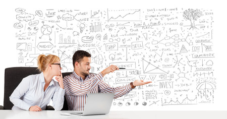 schemes: Young businessman and businesswoman planning and calculating with various business ideas