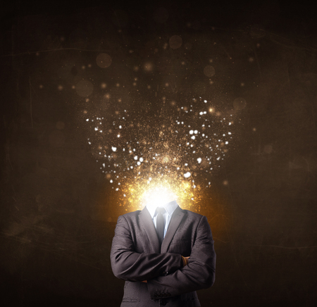 Business man with glowing exploding head concept Stock Photo - 26265730