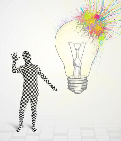 human character: 3D carattere umano � vestito del corpo morphsuit guardando astratto colorato lampadina