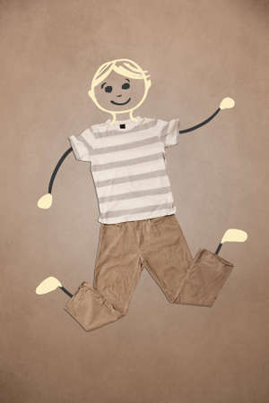 Cute blond hand drawn character in casual clothes photo