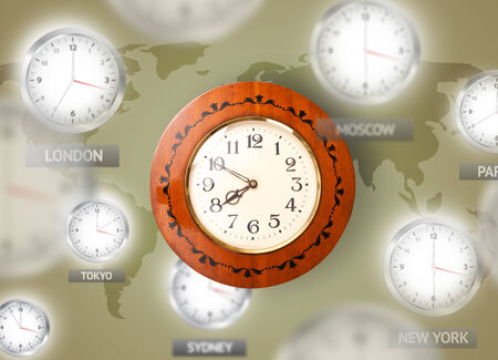 timezone: Clocks and time zones over the world illustration concept