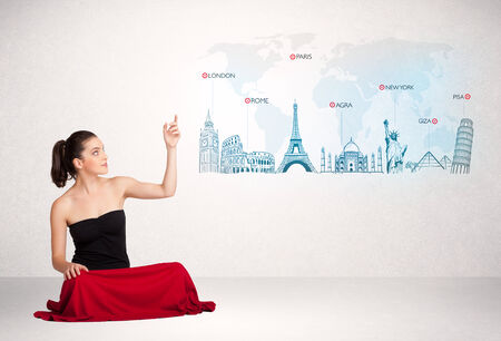 Business woman presenting map with famous cities and landmarks concept photo