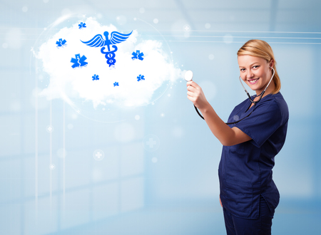 icone: Beautiful young doctor with abstract cloud and medical icons