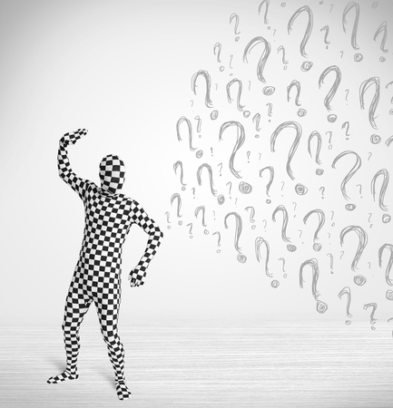 3d human character is body suit morphsuit looking at hand drawn question marks photo