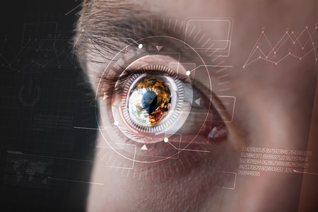 technolgy: Modern cyber man with technolgy eye looking
