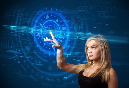 Tech woman pressing high technology control panel screen concept  photo