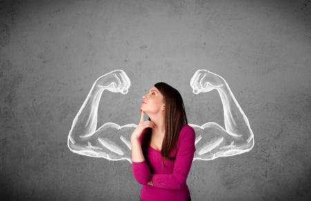 strong: Pretty young woman with sketched strong and muscled arms