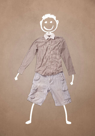Casual clothes with hand drawn smiley funny character  photo