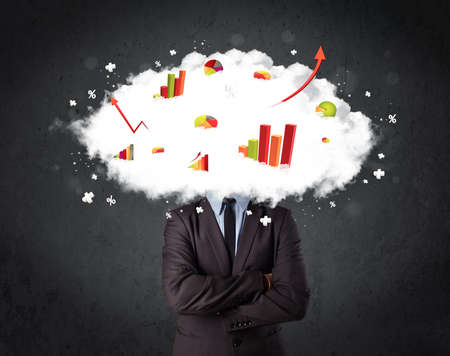 Modern business man with a graph cloud head concept photo