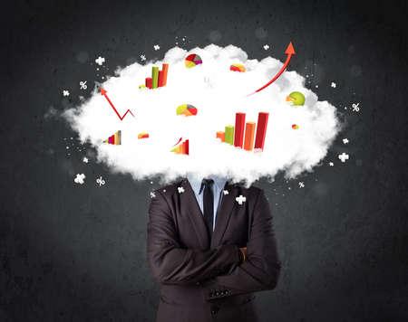 Modern business man with a graph cloud head concept photo