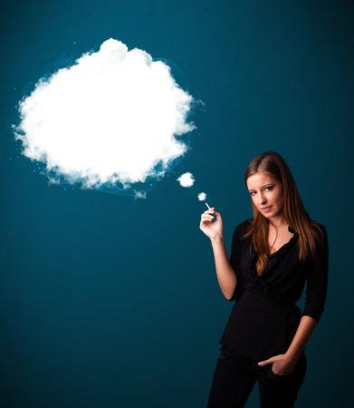 dense: Pretty young woman smoking unhealthy cigarette with dense smoke