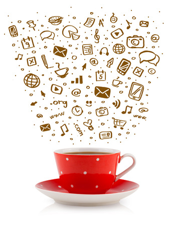 Coffee-mug with hand drawn media icons, isolated on white photo