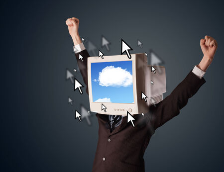 Business man with a monitor on his head, cloud system and pointers on the screen on a dark background photo