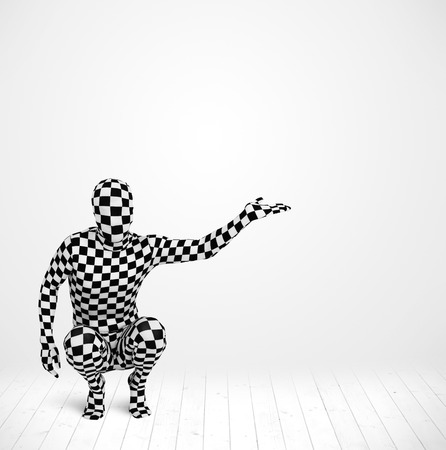 man in full body suit presenting your product over white background photo