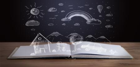 Met de hand getekende landschap op houten dek open boek