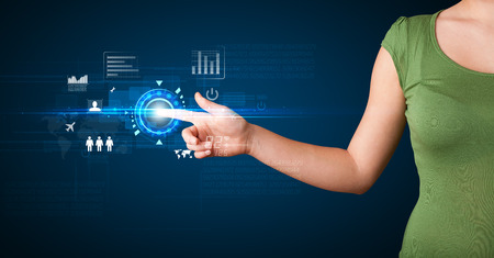 web technology: Business woman touching future web technology buttons and icons