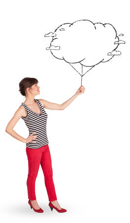 Pretty young lady holding cloud balloon drawing photo