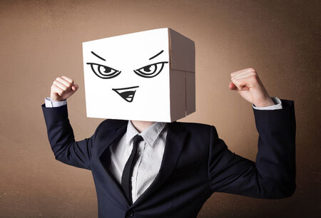 boxy: Businessman standing and gesturing with a cardboard box on his head with evil face