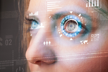Future woman with cyber technology eye panel concept photo