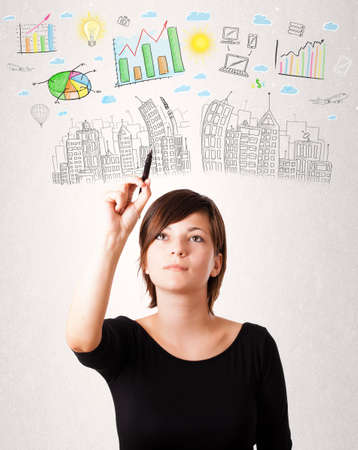 company building: Cute woman sketching city and graph icons and symbols Stock Photo