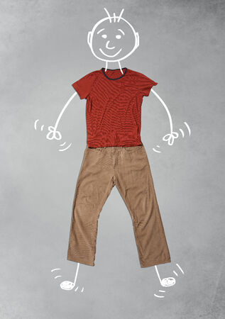 Cute funny hand drawn cartoon character in casual clothes photo