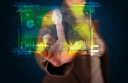 finger print: Businesswoman pressing modern technology panel with finger print reader