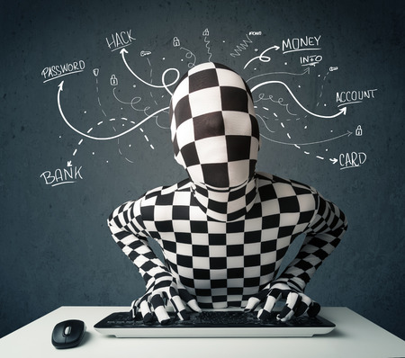 Dangerous morphsuit hacker with white drawn line thoughts photo