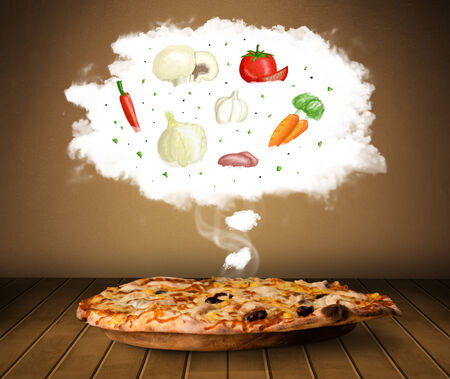 Pizza with vegetable ingredients illustration in cloud on wood deck  illustration