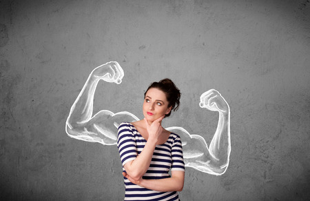 muscle girl: Pretty young woman with sketched strong and muscled arms